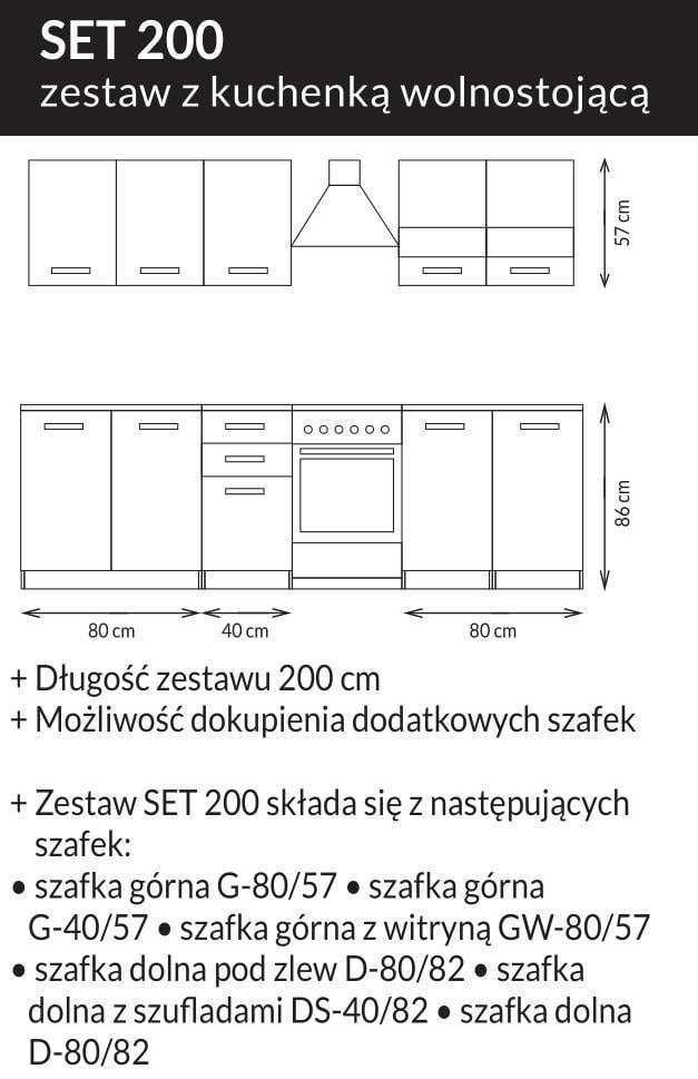Kuchnia SET biały lakier połysk / dąb sonoma 200 3