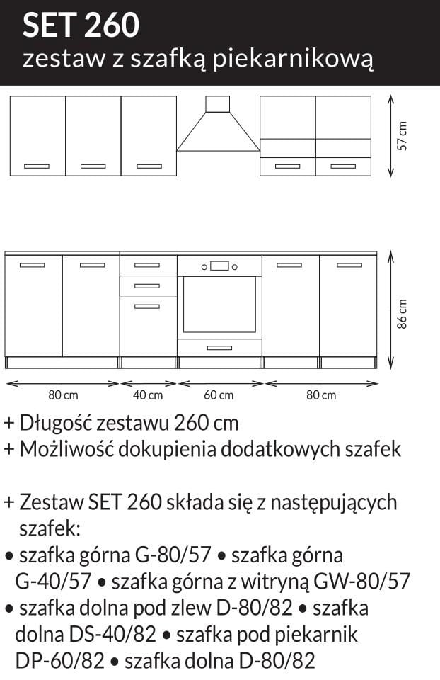 Kuchnia SET biały lakier połysk / dąb sonoma 200 2